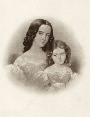 Emilie List and her little sister Elise as young children  Lithograph (Robert-Schumann-Haus, Zwickau)