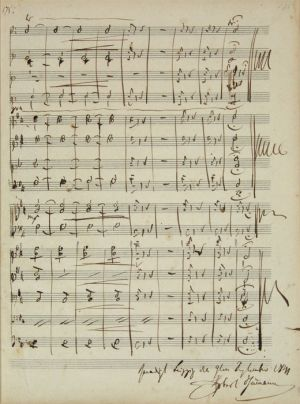 Last page of the autograph score of Symphony No. 4, Op. 120, first version, dated: September 1841 (A 292)