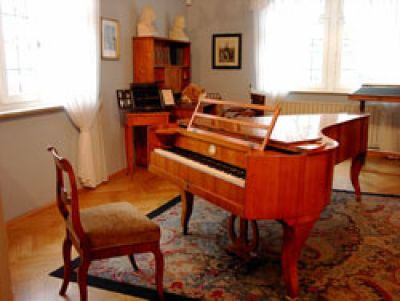 View of the piano at the Robert Schumann House