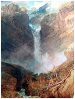 Handeck Wasserfall: Aquarell von William Turner, 1810