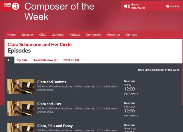 BBC's Composer of the week (9.-14.9.2019) is CLARA SCHUMANN