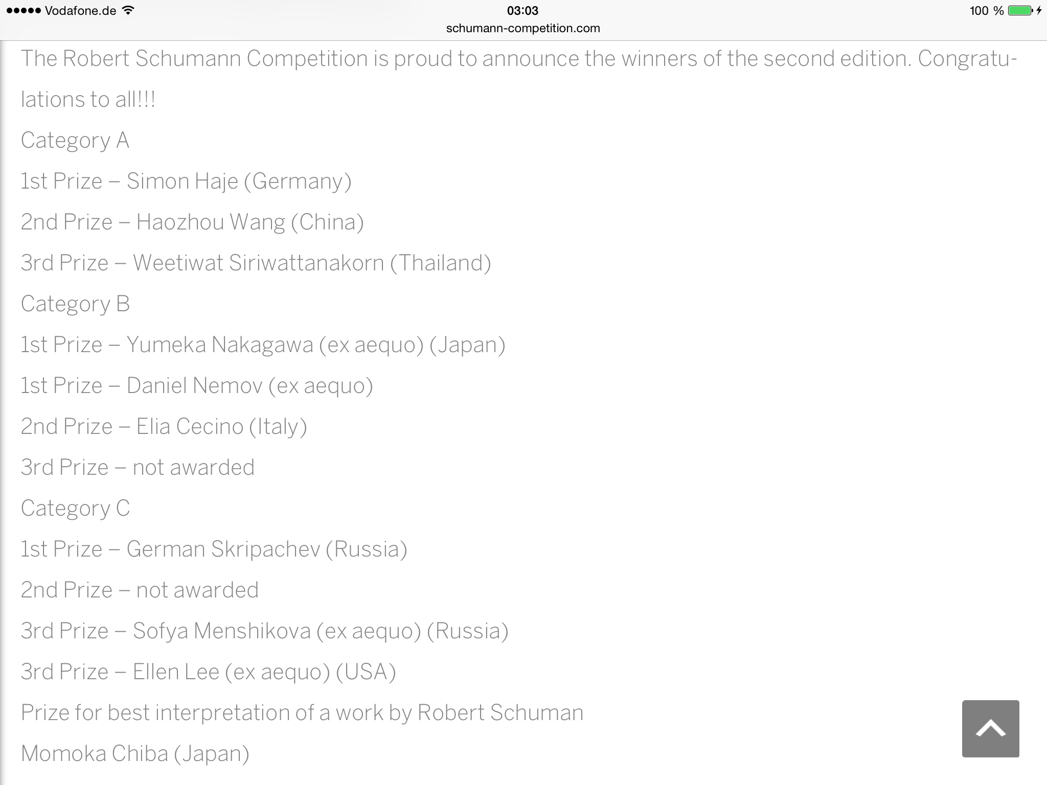 PRIZE WINNERS OF THE 2nd ROBERT SCHUMANN COMPETITION