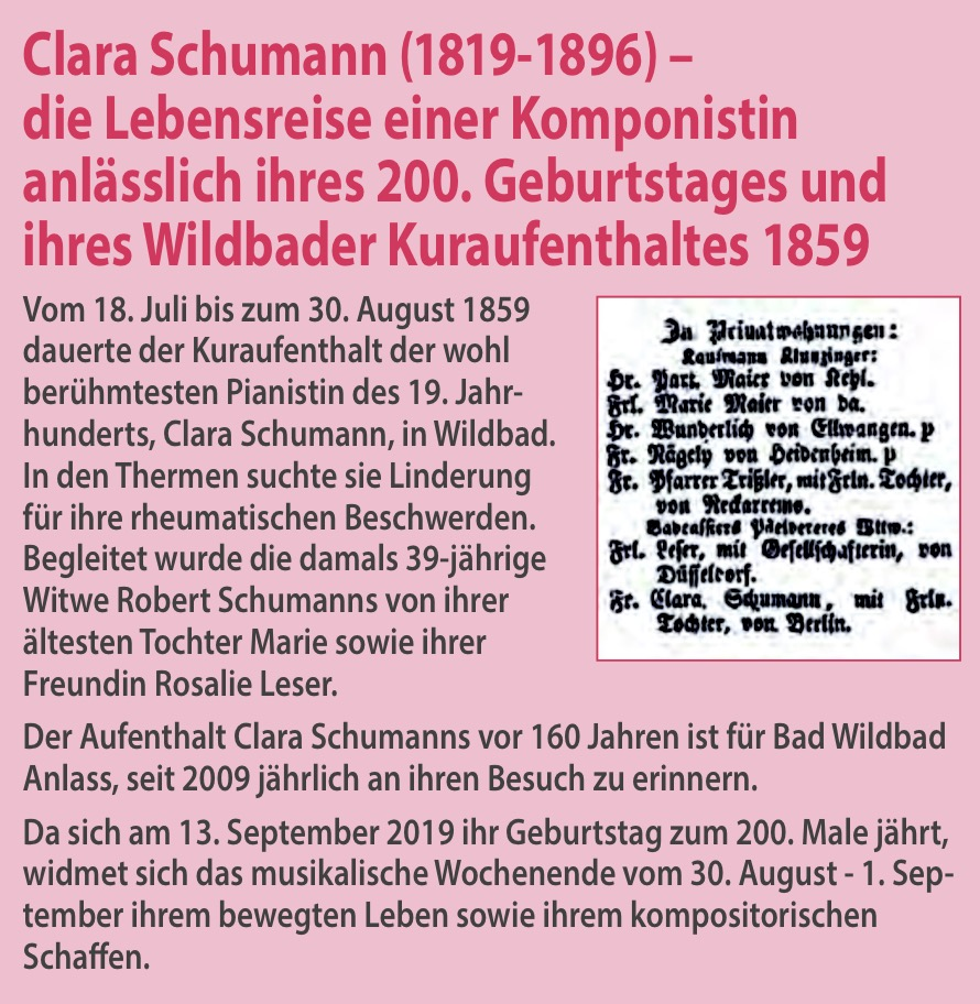 Clara Schumann Wochenende 2019 in Bad Wildbad