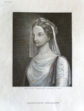 Elisabeth Kulmann (1808-1825) Steel engraving by Carl Barth, after a marble bust by Paolo Catozzi (StadtMuseum Bonn, SMB 2005/274)